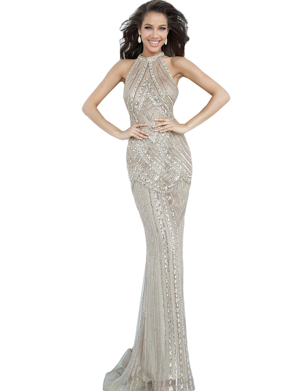 Jovani Champagne High Neck Beaded Evening Dress