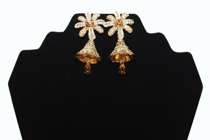 Gold & Diamond Flower Bells Earrings