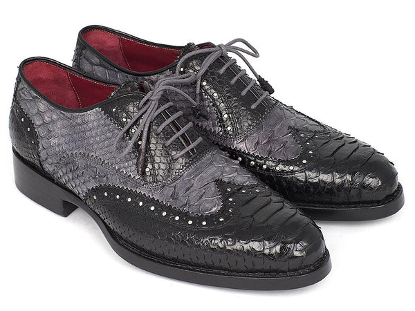 Paul Parkman Goodyear Welted Genuine Python Oxfords Black and Gray Shoes (ID#27GYPT51)
