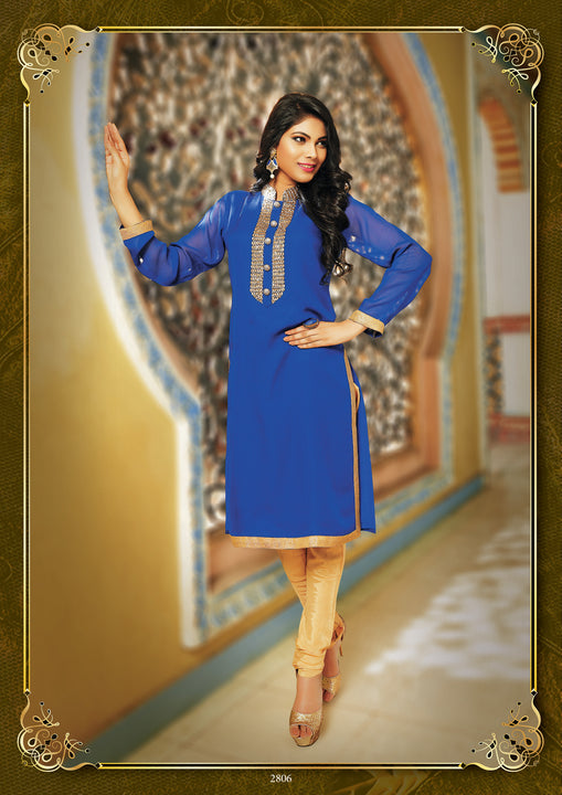 Royal Blue Princess Kurti Salwar Kameez