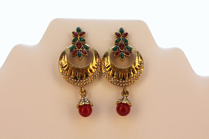 Red & Green Pearl Drop Earrings