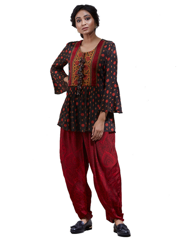 Ritu Kumar Brick Red & Brown Peplum Kurti With Dhoti