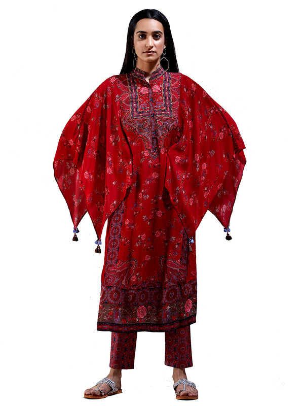 Ritu Kumar Cherry Red Floral Print Suit Set