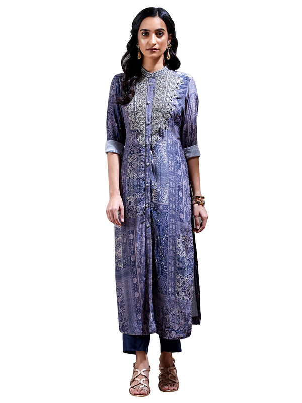 Ritu Kumar Powder Blue Embroidered Suit Set