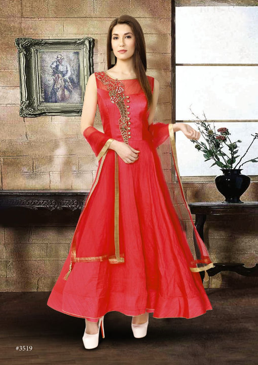 Candy Apple Red Silk Embroidered Indo-Western Anarkali Gown