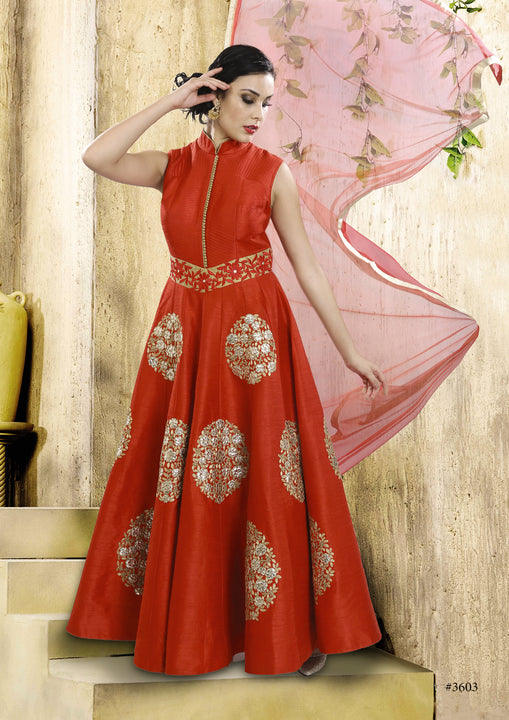 Enticing Auburn Silk Indo-Western Anarkali Gown