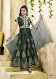 Radiant Forrest Green Silk Embroidered  Indo-Western Anarkali Gown