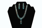 Dazzling Silver Blue Necklace and Earrings Set