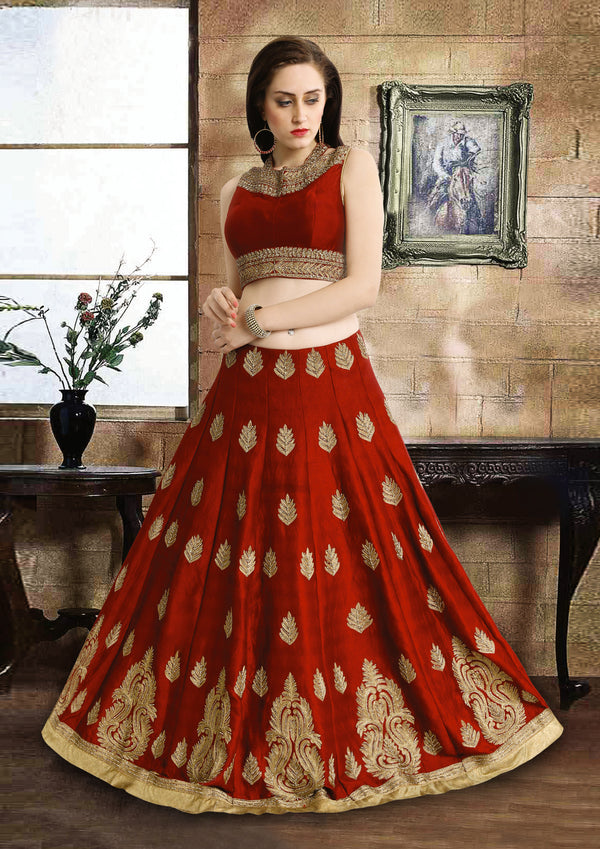 Elegant Royal Ruby Silk Lehenga