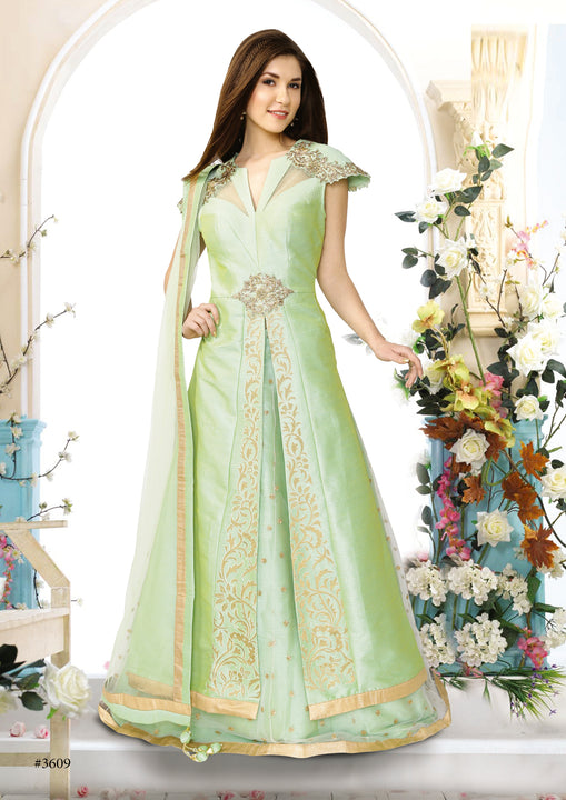 Sweet Mint Silk Embroidered Indo-Western Anarkali Gown