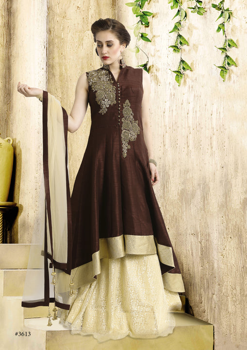 Glamorous Chocolate Brown Embroidered Indo-Western Anarkali Gown