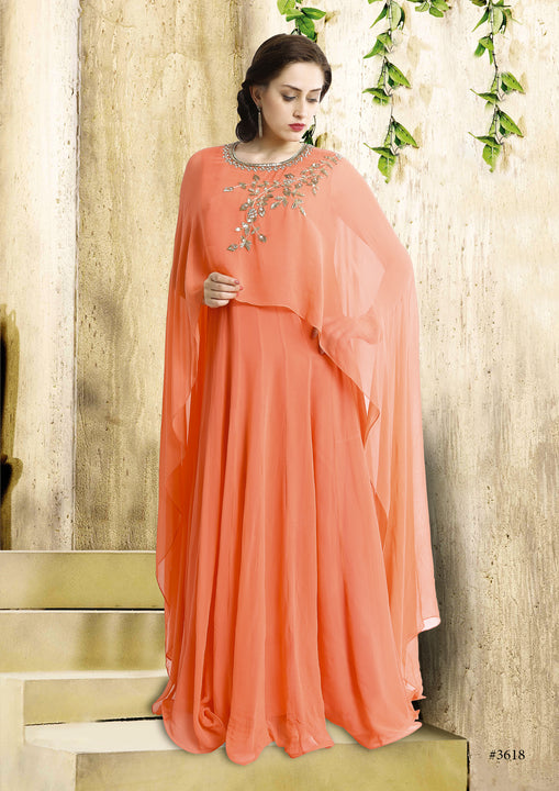 Soft Monarch Orange Cape-Style Anarkali Gown