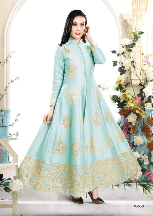 Classy Powder Blue Silk Embroidered Indo-Western Anarkali Gown