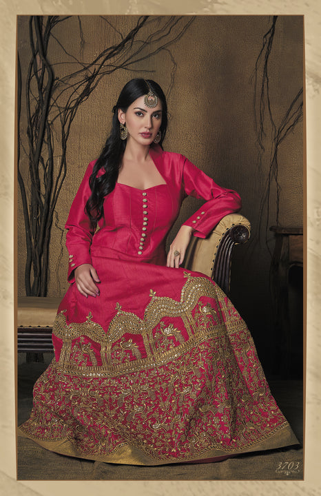 Regal Pink Silk Embroidered Indo-Western Anarkali Gown