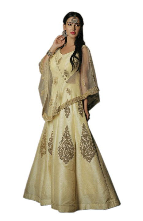 Elegant Champagne Gold Cape-Style Anarkali Gown