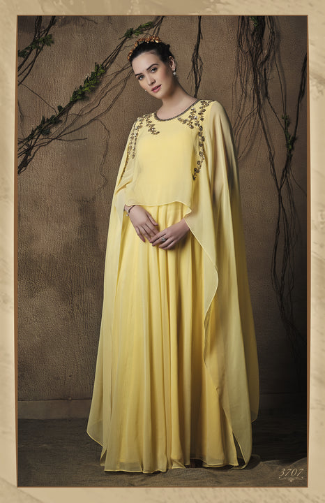 Delicate Canary Yellow Cape-Style Anarkali Gown