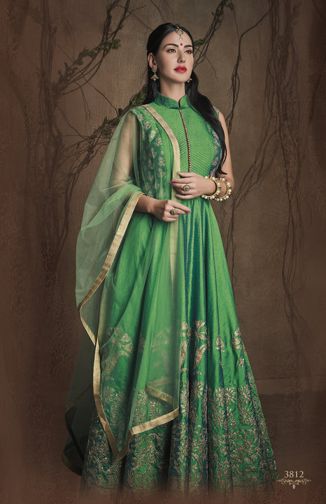 Magnificent Emerald Queen Silk Embroidered Indo-Western Anarkali Gown