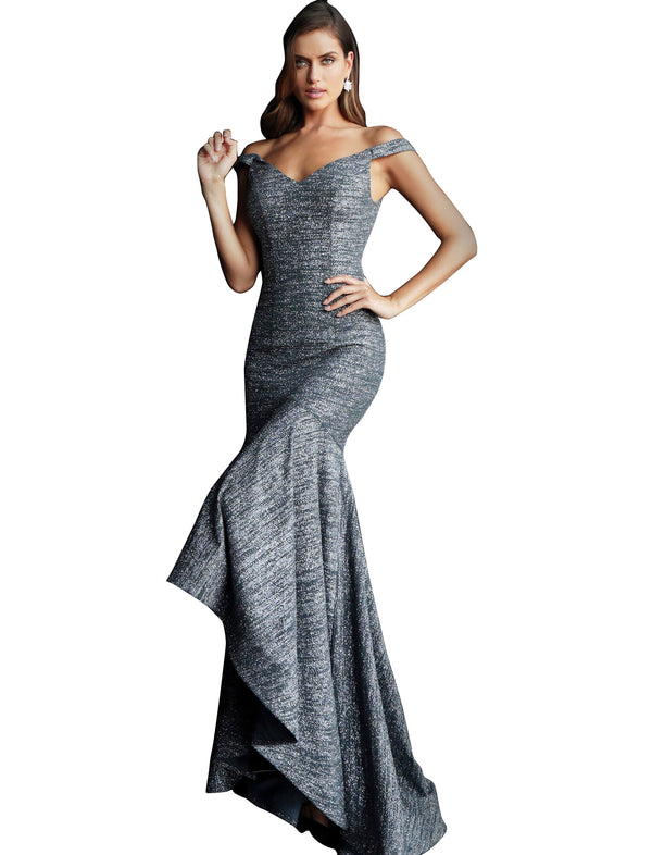 Jovani Gunmetal Glitter Off the Shoulder High Low Prom Dress