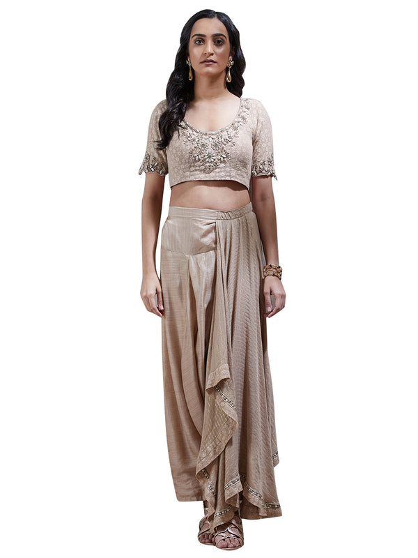 Ritu Kumar Beige Embroidered Pre-Draped Saree