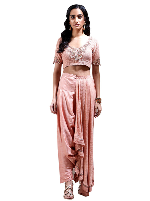 Ritu Kumar Peach Embroidered Pre-Draped Saree