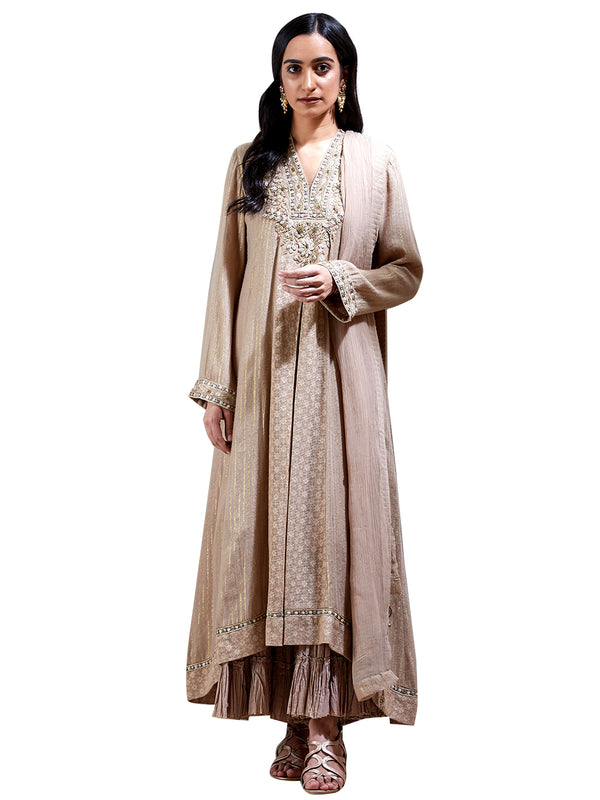 Ritu Kumar Beige Embroidered Suit Set
