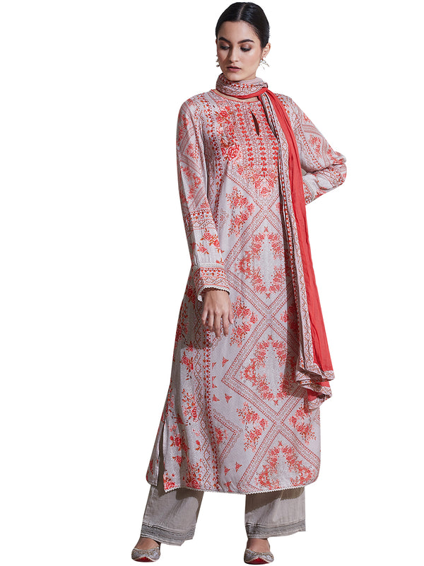 Ritu Kumar Peach Printed Suit Set