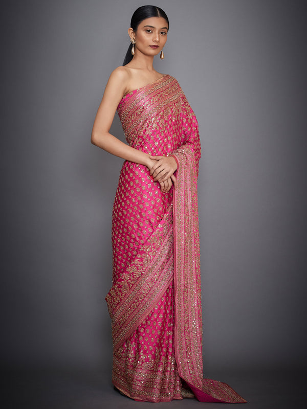 RI Ritu Kumar Fuchsia Embroidered Paisley Saree With Unstitched Blouse