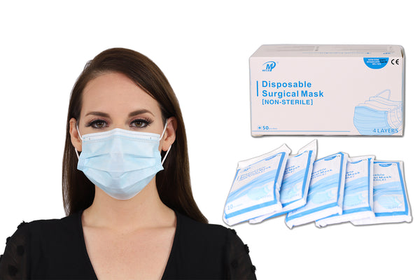 50 pcs - 4 Ply Disposable Surgical Face Masks, ASTM F2100 Level 3 Non-Sterile, 98% BFE for Hospitals & Ideal for Fluid Protection