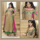 Tan Long Anarkali Salwar Kameez (D. No. 4002)
