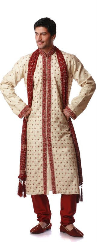 Royal Beige and Red Men's Sherwani Size 42 (Rent)