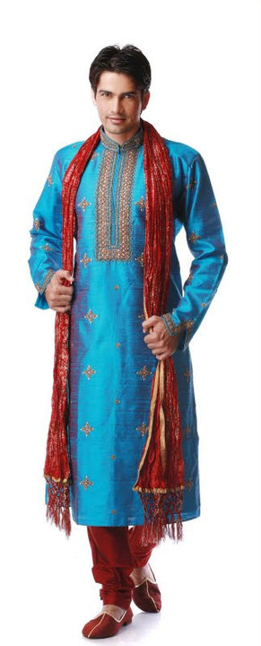 Royal Look Blue Green Embroidered Silk Kurta Size 42