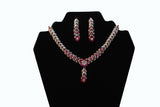 Dazzling Pink & Silver Necklace and Earrings Set