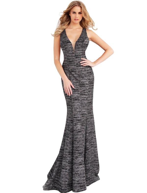 Jovani Black Multi Glitter Jersey Plunging Neckline Prom Dress