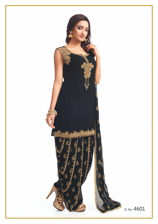 Black and Gold Festive Patiyala Suit