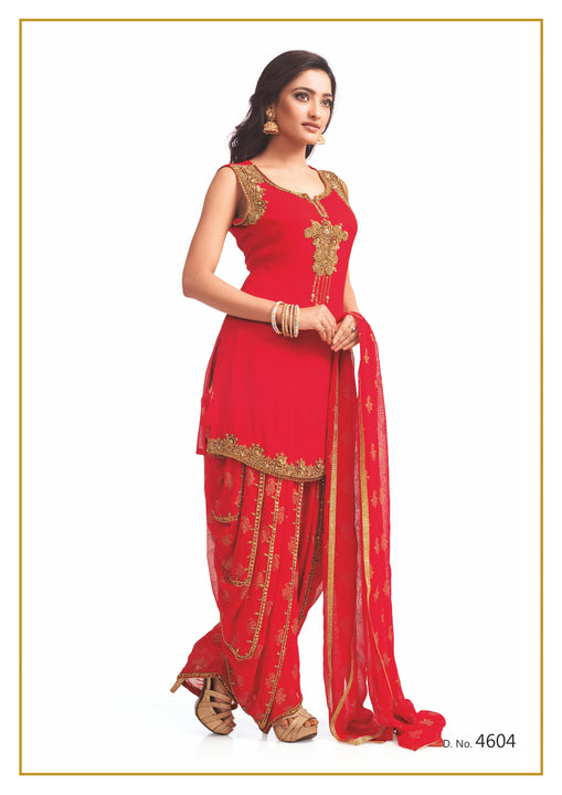 Red and Gold Festive Patiyala Suit