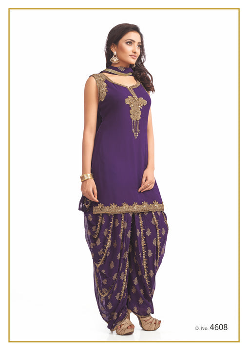 Purple and Gold Festive Patiyala Suit