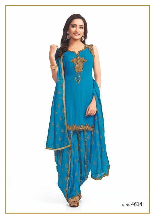 Sky Blue and Gold Festive Patiyala Suit