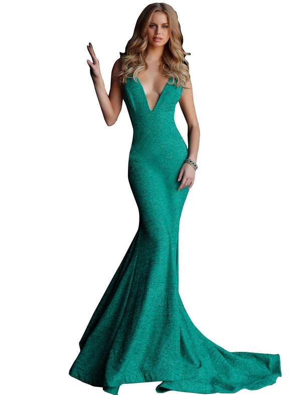 Jovani Jade Fitted Plunging Neckline Gown Dress