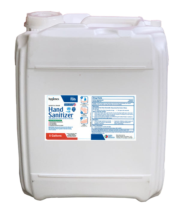 Hygienex Hospital Grade Hand Sanitizer 5 Gallon Drum Liquid, Unscented, 80% Alcohol Made in USA WHO Approved Formula