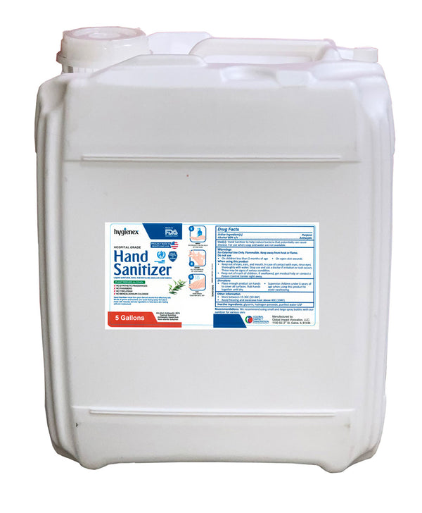 Hygienex Hospital Grade Hand Sanitizer 5 Gallon Liquid Refill Scented with Eucalyptus Oil, 80% Alcohol Made in USA WHO Approved Formula