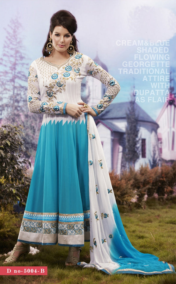 Blue, White and Off White Georgette Anarkali Salwar Kameez (D. No. 5004-B)