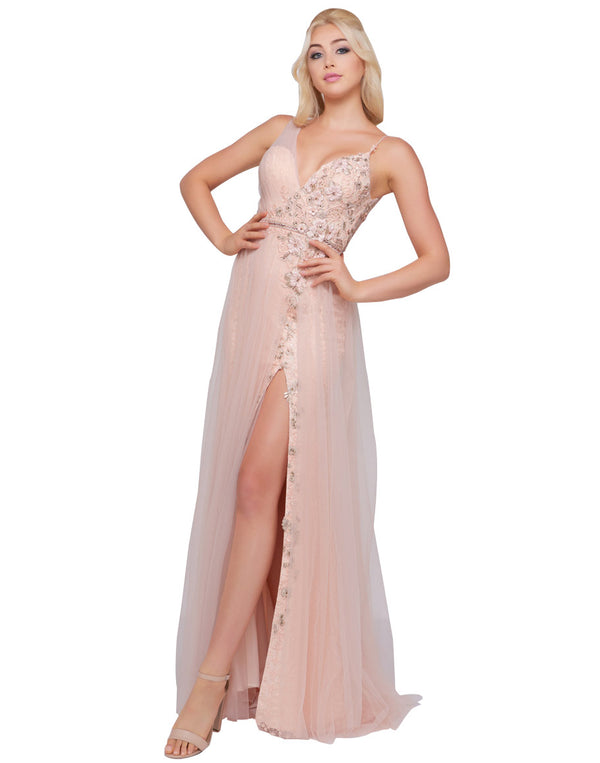 Mac Duggal Prom - Beaded Floral Blush Pink Ball Gown with Slit