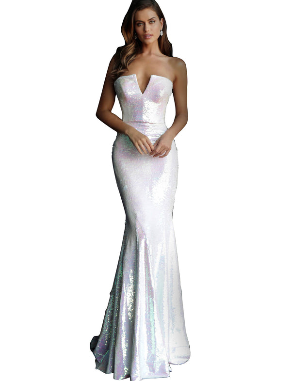 Jovani White Sequin Fitted Strapless Prom Dress