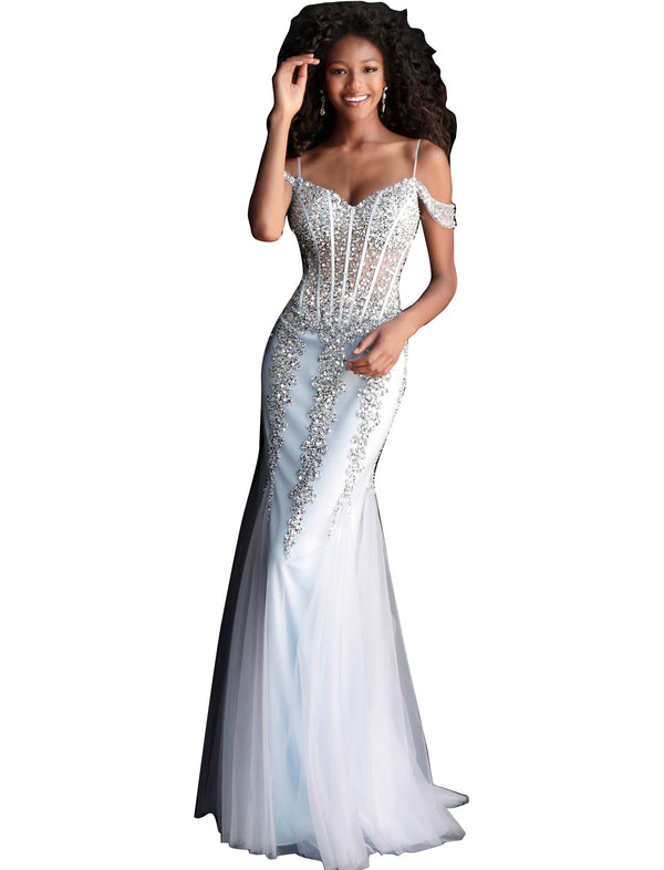 Jovani Cloud Blue Embellished Off the Shoulder Prom Dress