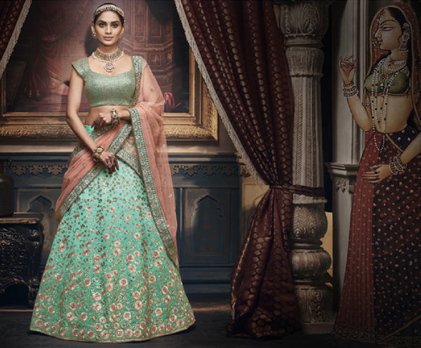 Mint and Peach Shimmering Floral  Rich Indian Wedding Lehenga REET5154
