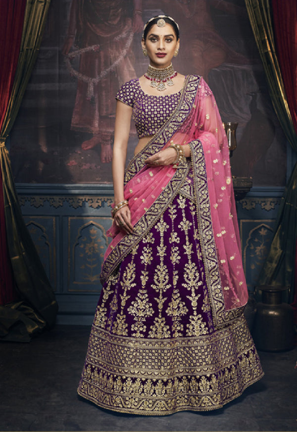 Sultry and Mysterious Deep Purple Rich Indian Wedding Lehenga REET5157