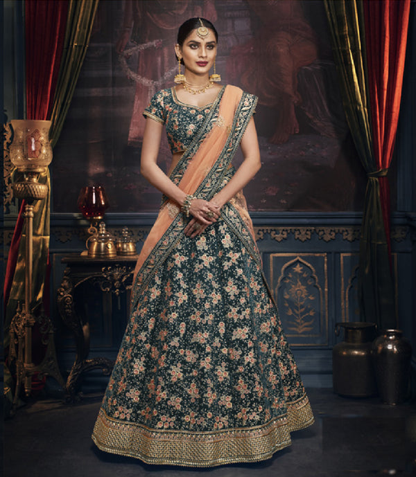 Forever Yours Forrest Green Rich Indian Wedding Lehenga REET5158