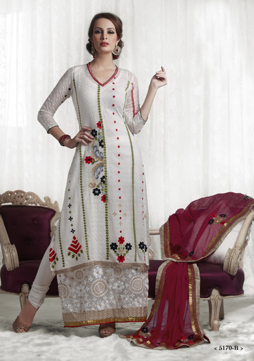 White Georgette Long Anarkali Churidar (D. No. 5170-B)