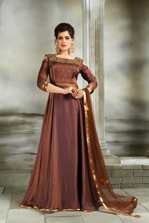 Beautiful Autumn Bronze Silk Indo-Western Anarkali Gown