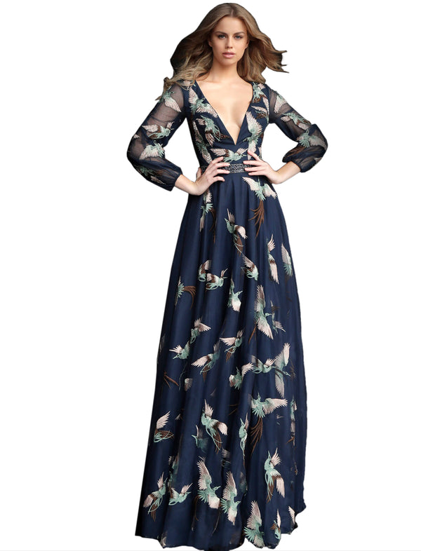 Jovani Navy Embroidered Long Sleeve V Neck Prom Gown